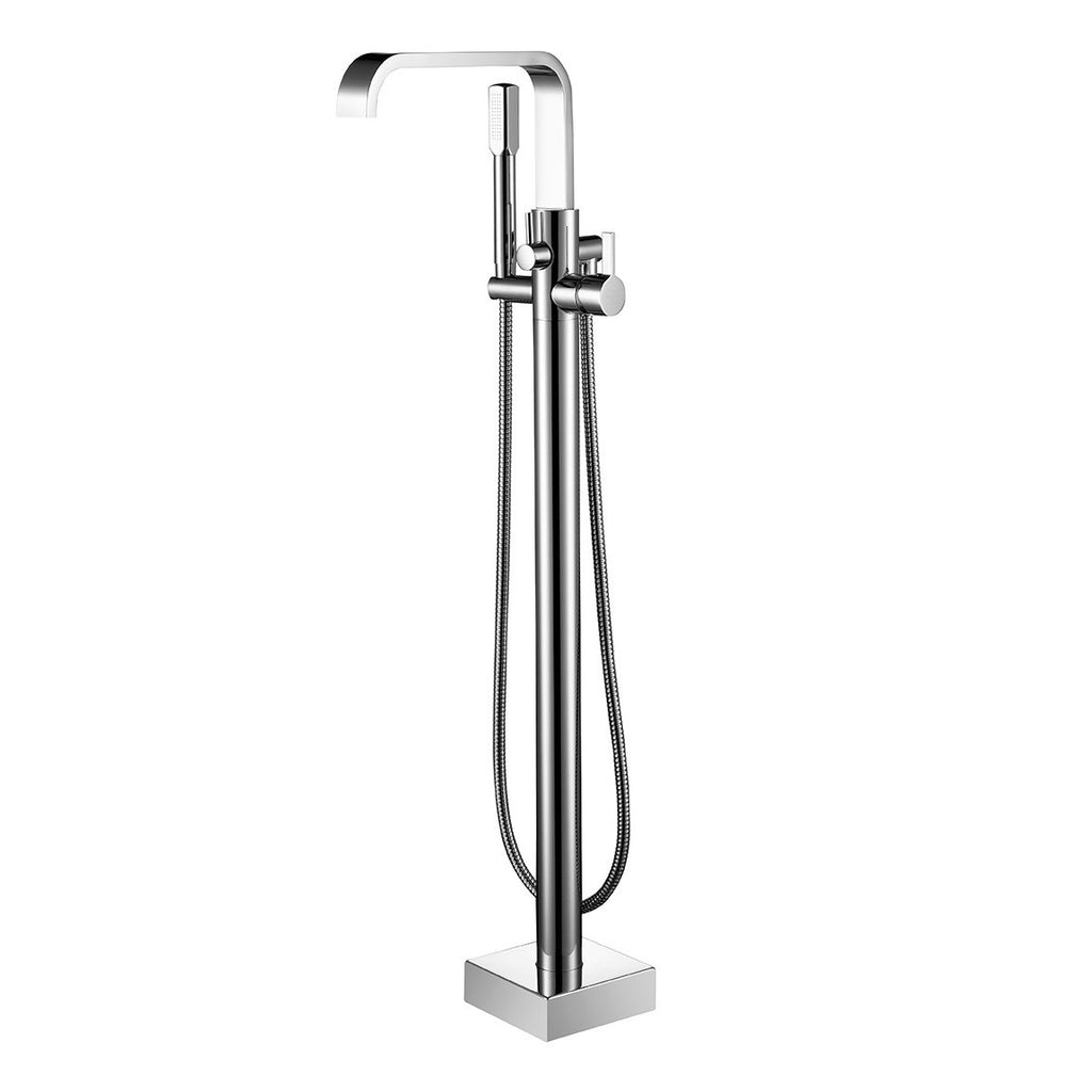 BF-109CH Freestanding Bathtub Filler Faucet with Shower Sprayer Shown in Chrome Finish