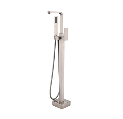 BF-111BN Freestanding Bathtub Filler Faucet with Shower Sprayer Shown in Brushed Nickel Finish