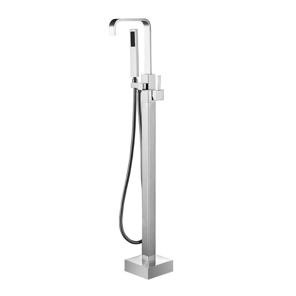BF-113CH Freestanding Bathtub Filler Faucet with Shower Spray Shown in Chrome Finish