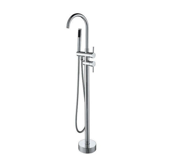 BF-112CH Freestanding Bathtub Filler Faucet with Shower Sprayer Shown in Chrome Finish