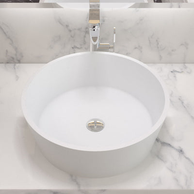 CW-115 Round Countertop Mounted Vessel Sink in White Finish Shown