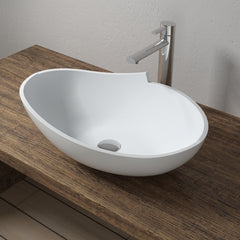 CW-106 Oval Countertop Mounted Vessel Sinks in White Finish Shown Installed