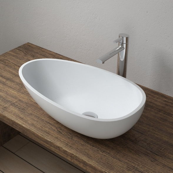 CW-108 Oval Countertop Mounted Vessel Sinks in White Finish Shown Installed