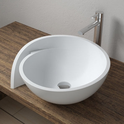 CW-109 Round Circular Countertop Mounted Vessel Sink in White Finish Shown Installed