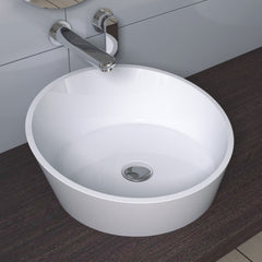 CW-112 Round Circular Shaped Countertop Mounted Vessel Sink in White Finish Shown Installed