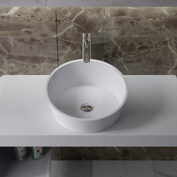 CW-112 Round Circular Shaped Countertop Mounted Vessel Sink in White Finish Shown