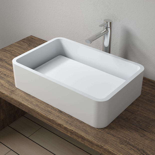 CW-114 Rectangular Countertop Mounted Vessel Sink in White Finish Shown Installed with Separate Faucet