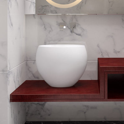 CW-116 Oval Countertop Mounted Vessel Sink in White Finish Shown Installed