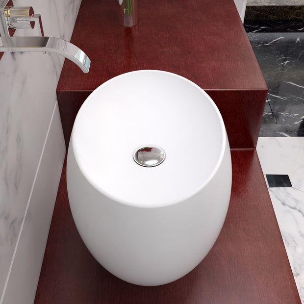 CW-116 Oval Countertop Mounted Vessel Sink in White Finish Shown