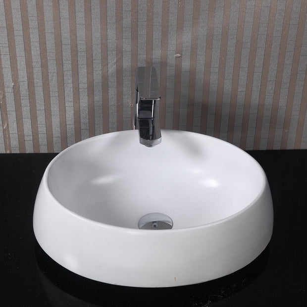 CW-118 Oval Countertop Vessel Sink in White Finish Shown Installed