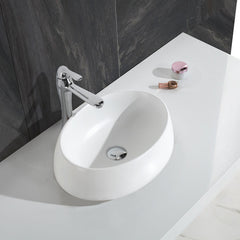 CW-118 Oval Countertop Vessel Sink in White Finish Shown Installed with Props
