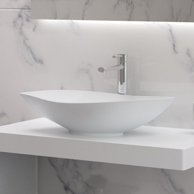 AW-101 Wall Mounted Countertop Organizer in White Finish Shown Installed with Separate Sink
