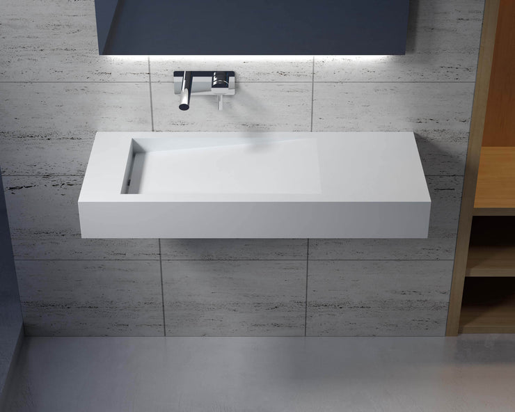 DW-111 Rectangular Wall Mounted Sink Shown on Left