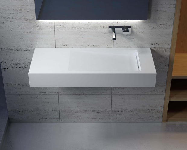 DW-111 Rectangular Wall Mounted Sink Shown on Right