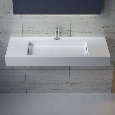 DW-119 Rectangular Wall Mounted Sink Shown Installed with Separate Faucet