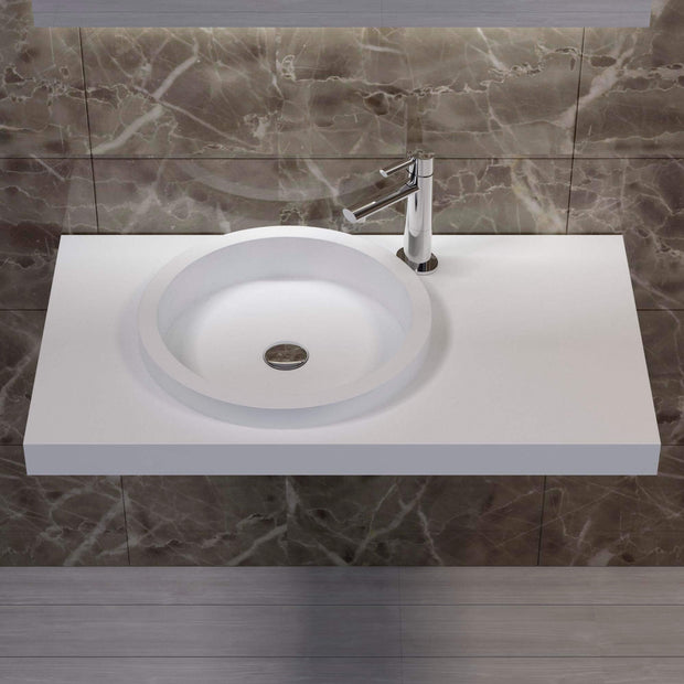 DW-126 Rectangular Wall Mounted Sink Shown Installed with Separate Faucet