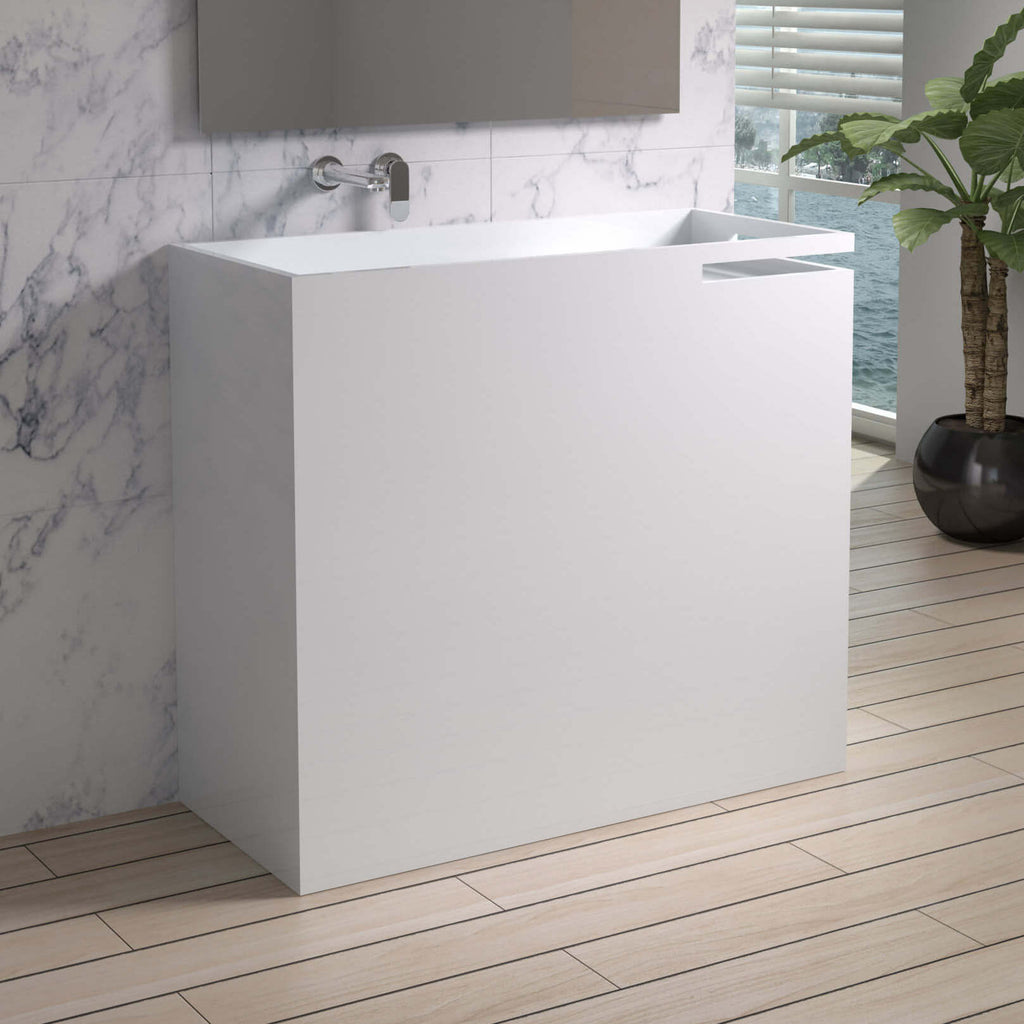 DW-129 Rectangular Freestanding Sink Shown Installed