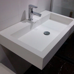 DW-134 Rectangular Wall Mounted Sink in White Finish Shown Installed