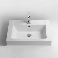 DW-137 Rectangular Countertop Sink in White Finish Shown with Separate Faucet