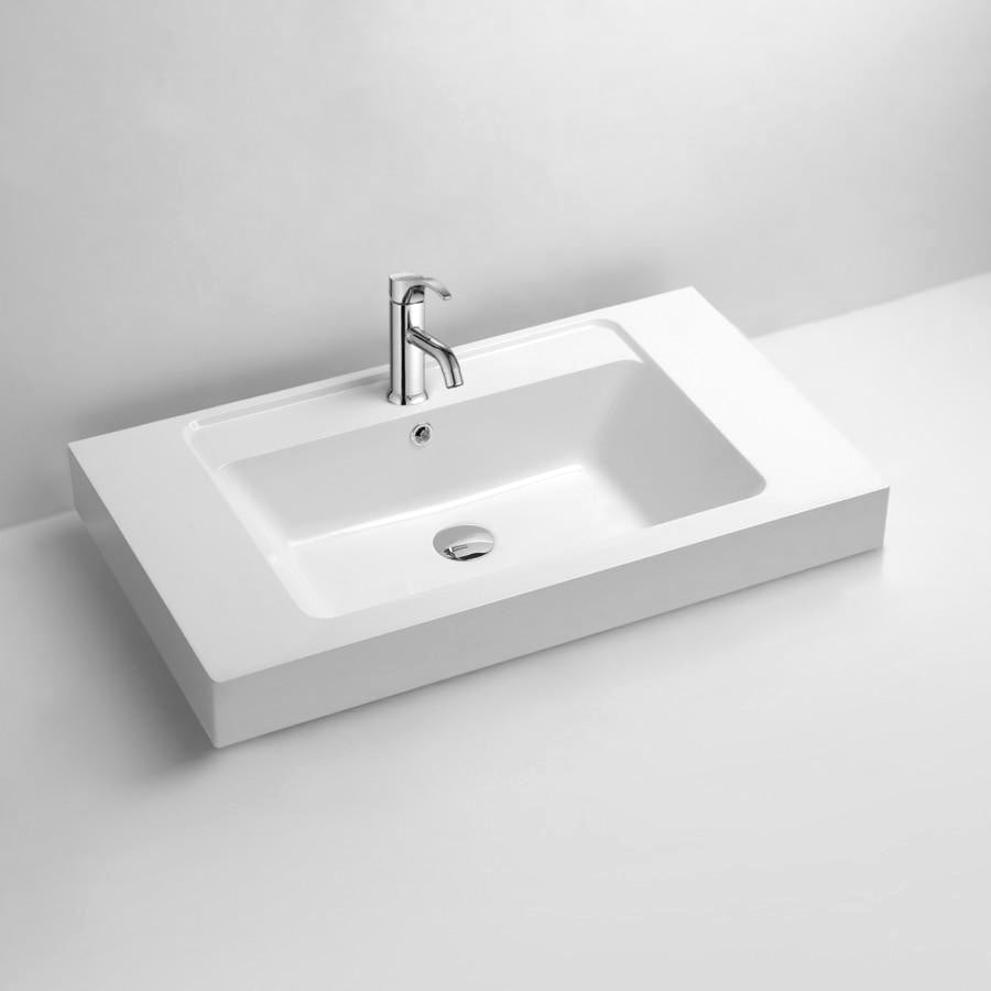 DW-138 Rectangular Countertop Sink in White Finish Shown with Separate Faucet