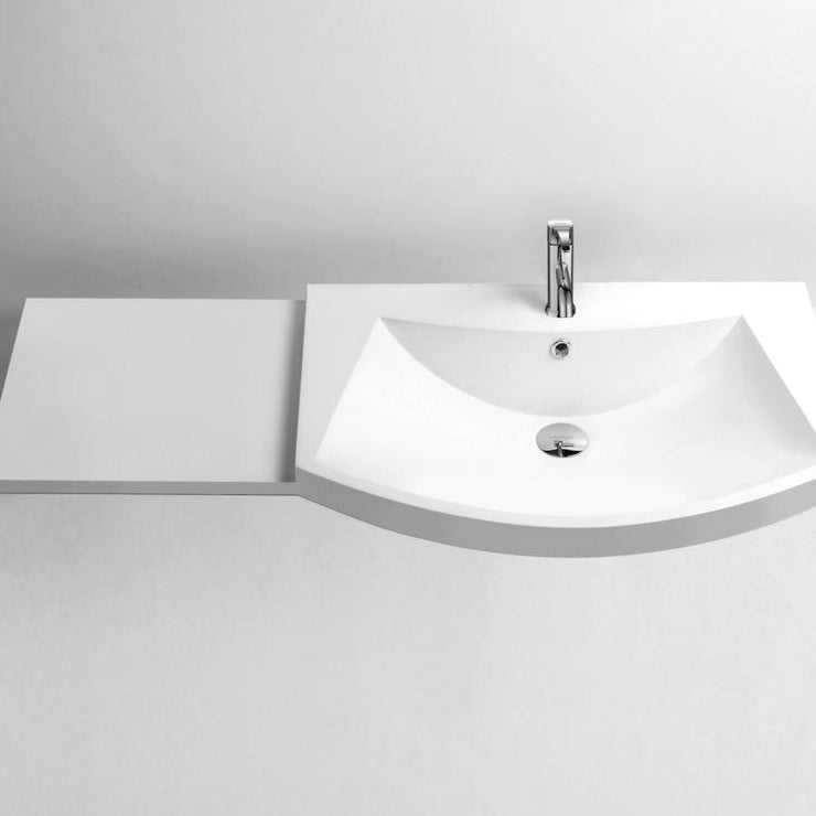 DW-139 Curved Countertop Bathroom Sink in White Finish Shown with Separate Faucet