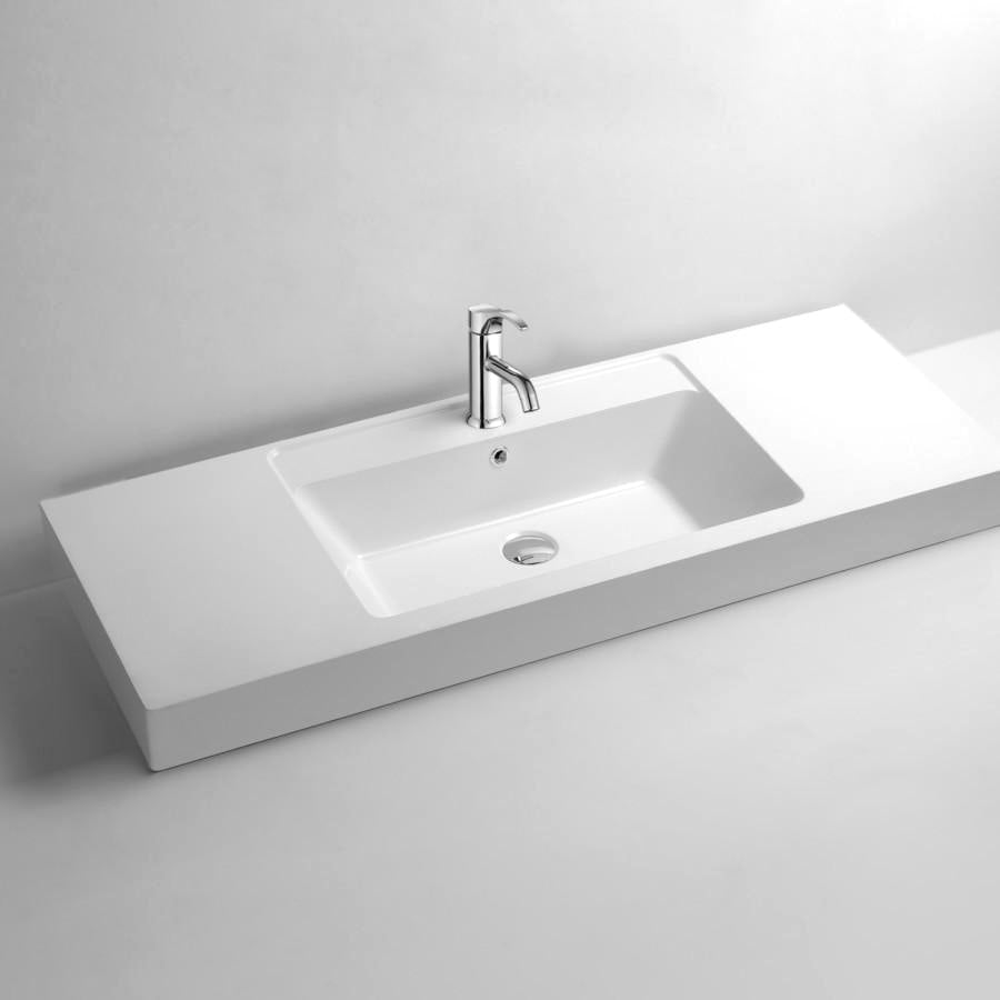 DW-140 Rectangular Countertop Bathroom Sink in White Finish Shown with Separate Faucet