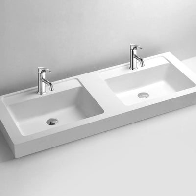 DW-141 Rectangular Countertop Double Sink in White Finish Shown with Separate Faucet