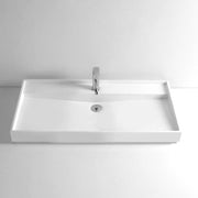 DW-142 Rectangular Countertop Mounted Vessel Sink in White Finish Shown with Separate Faucet