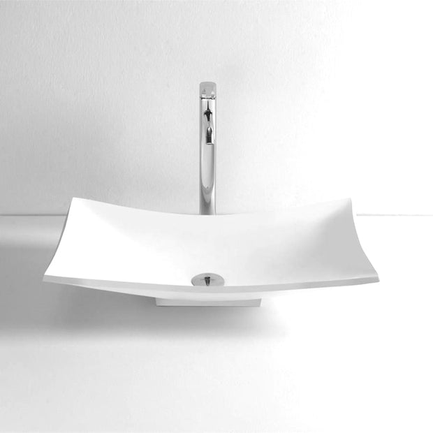 DW-143 Curved Countertop Mounted Vessel Sink in White Finish Shown with Separate Faucet