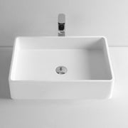 DW-144 Rectangular Countertop Mounted Vessel Sink in White Finish Shown with Separate Faucet