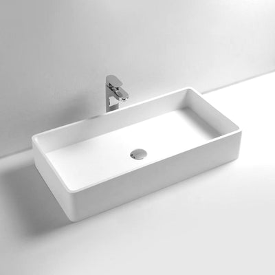 DW-145 Large Rectangular Countertop Mounted Vessel Sink in White Finish Shown with Separate Faucet