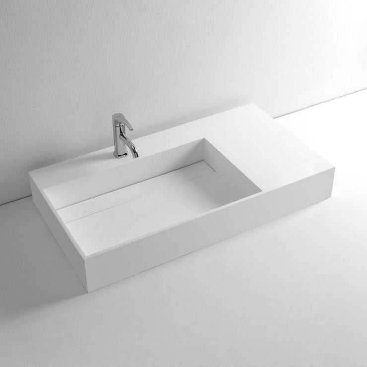 DW-146 Rectangular Wall Mounted Countertop Sink in White Finish Shown with Separate Faucet