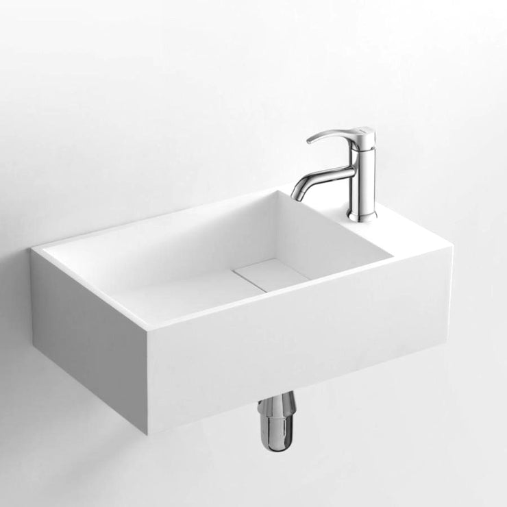 DW-147 Small Rectangular Wall Mounted Countertop Sink in White Finish Shown with Separate Faucet