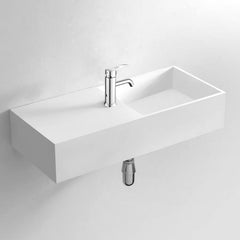 DW-148 Rectangular Wall Mounted Countertop Sink in White Finish Shown with Separate Faucet
