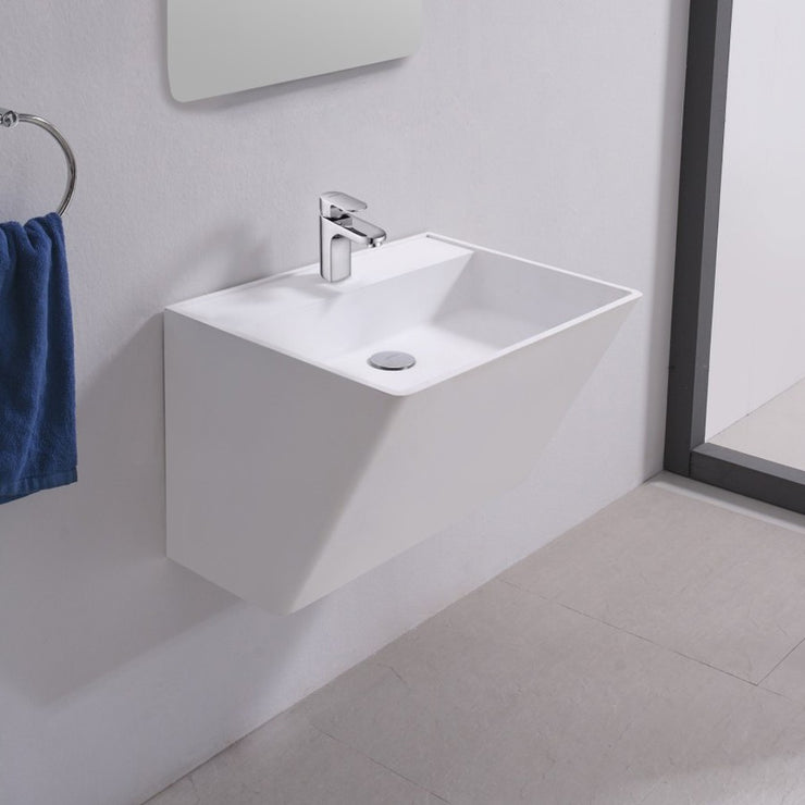 DW-154 Rectangular Wall Mounted Bathroom Sink in White Finish Shown with Separate Faucet
