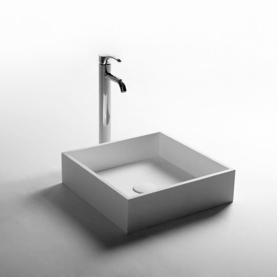 DW-156 Square Countertop Bathroom Sink in White Finish Shown with Separate Faucet