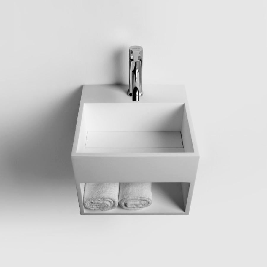 DW-160 Square Wall Mounted Countertop Sink Shelved in White Finish Shown with Separate Faucet