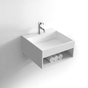 DW-161 Square Shelved Wall Mounted Bathroom Sink in White Finish Shown with Separate Faucet
