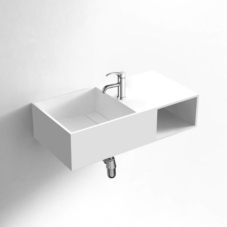 DW-162 Rectangular Shelved Wall Mounted Countertop Sink in White Finish Shown