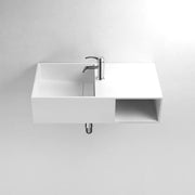 DW-162 Rectangular Shelved Wall Mounted Countertop Sink in White Finish Shown with Separate Faucet