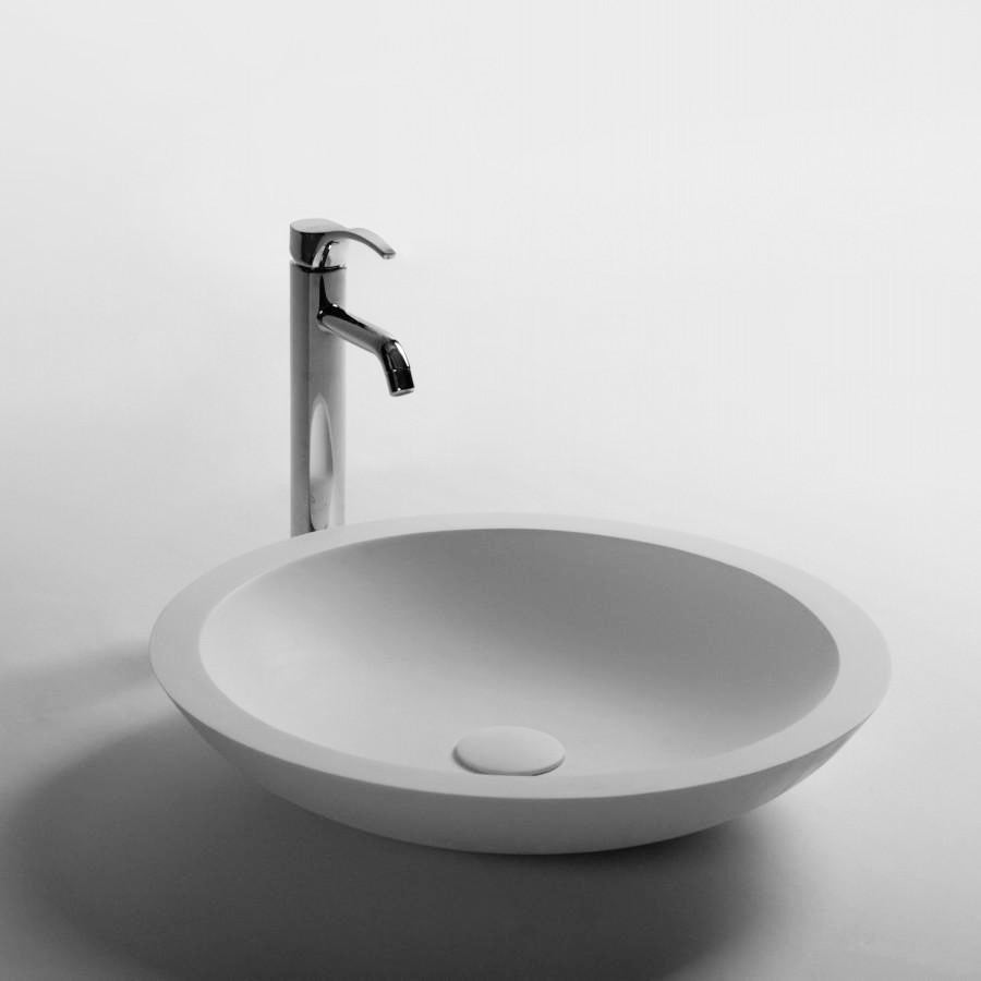 DW-163 Round Countertop Mounted Vessel Sink in White Finish Shown with Separate Faucet