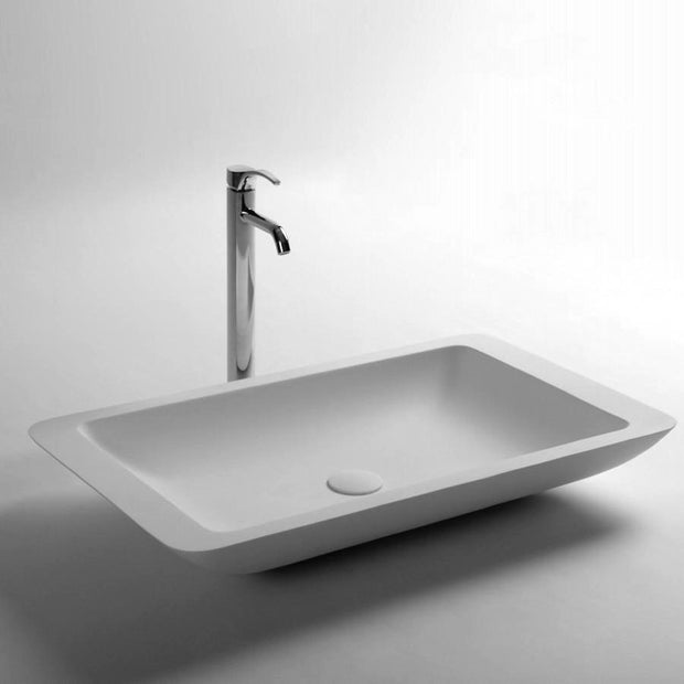 DW-167 Rectangular Countertop Mounted Vessel Sink in White Finish Shown with Separate Faucet