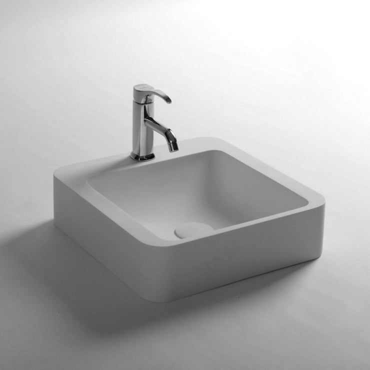 DW-168 Square Countertop Vessel Sink in White Finish Shown with Separate Faucet