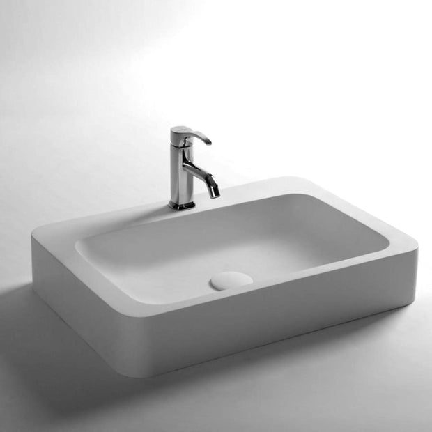 DW-169 Rectangular Countertop Vessel Sink in White Finish Shown with Separate Faucet