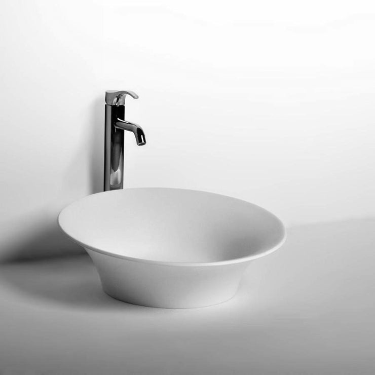 DW-170 Round Countertop Vessel Sink in White Finish Shown Installed with Separate Faucet