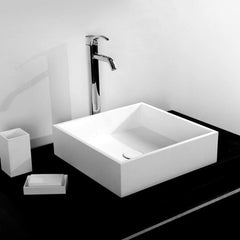 DW-172 Square Countertop Vessel Sink in White Finish Shown Installed with Separate Faucet