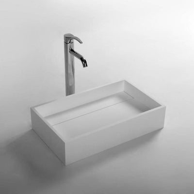 DW-173 Rectangular Countertop Vessel Sink in White Finish Shown Installed with Separate Faucet