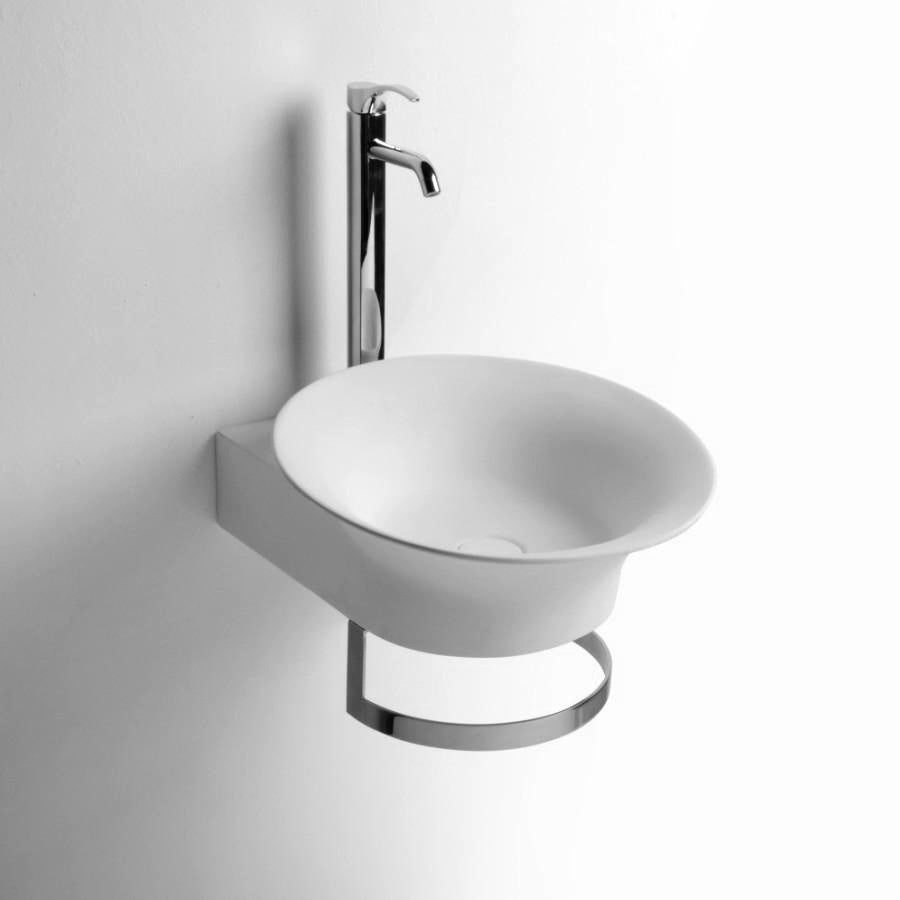 DW-174 Round Wall Mounted Sink with Towel Rack in White Finish Shown Installed with Separate Faucet