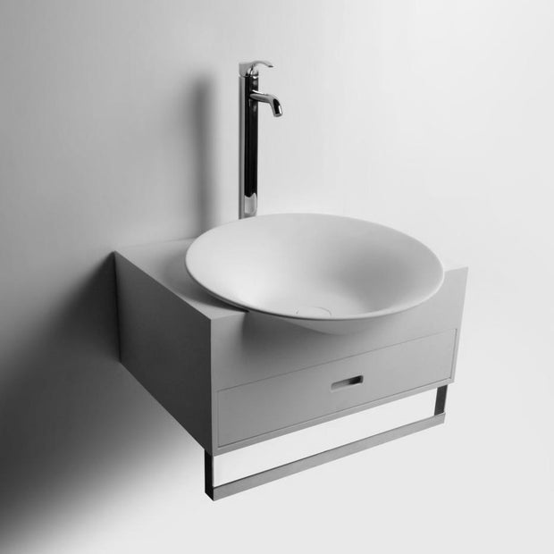 DW-176 Round Wall Mounted Sink with Organizer Cabinet Drawers in White with Towel Rack