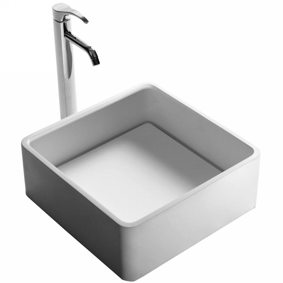 DW-180 Square Countertop Mounted Vessel Sink in White Finish Shown Installed with Separate Faucet